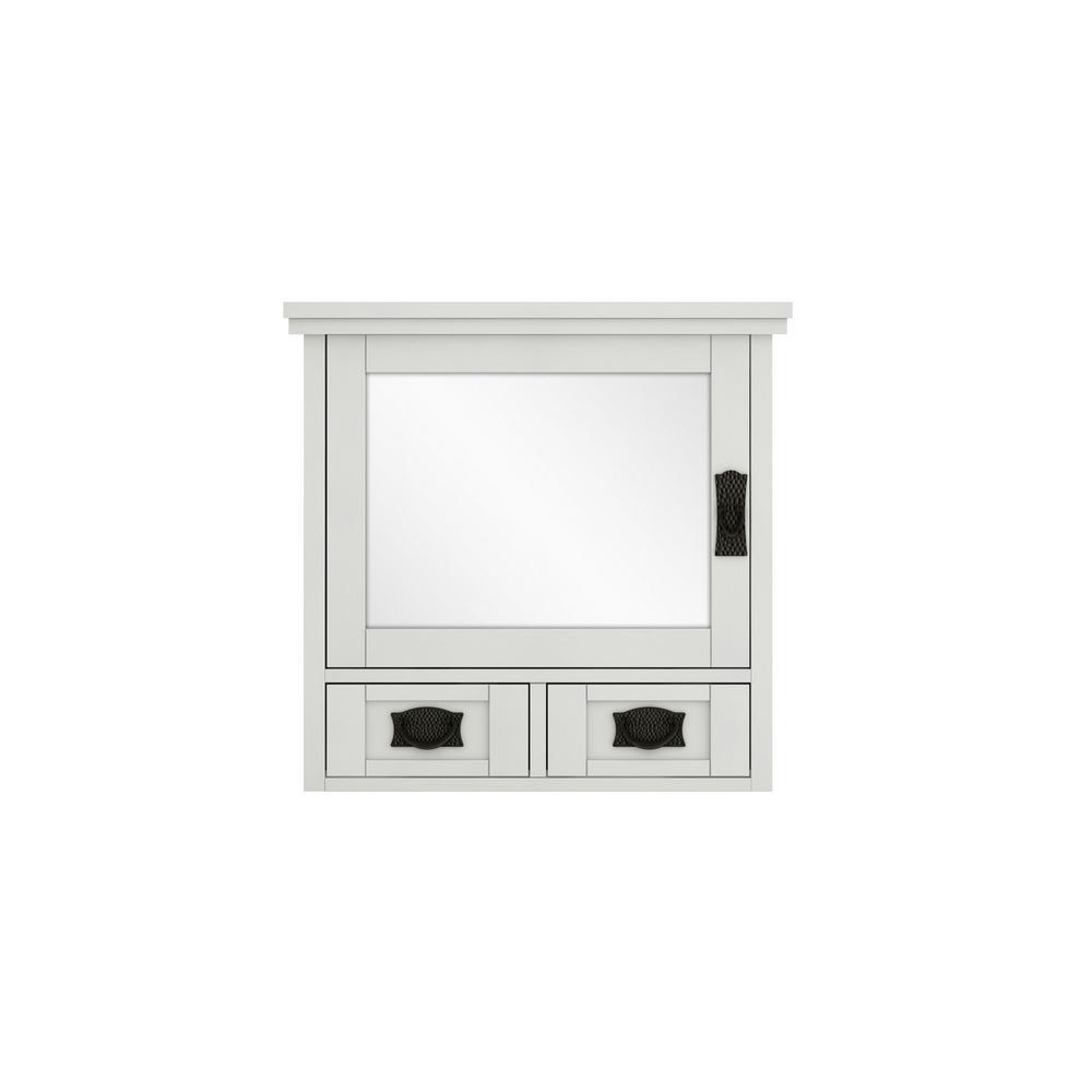 Artisan 23-1/2 in. W x 22-3/4 in. H x 8 in. D Framed Rectangular S33Bathroom Vanity Mirror in White