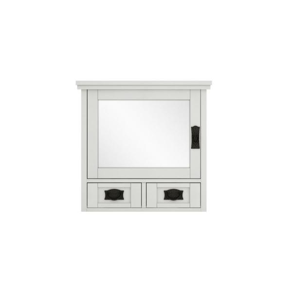 Artisan 23-1/2 in. W x 22-3/4 in. H x 8 in. D Framed Rectangular S33Bathroom Vanity Mirror in White