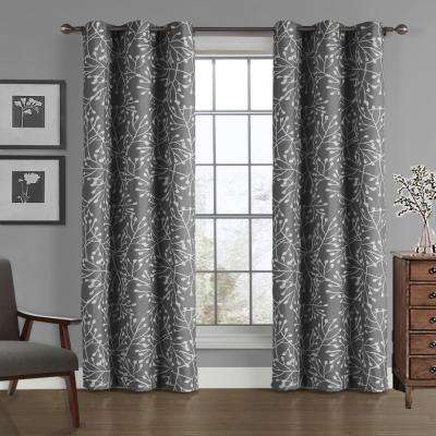 Branches Crushed Microfiber Panel in Gray - 40 in. W x 84 in. L
