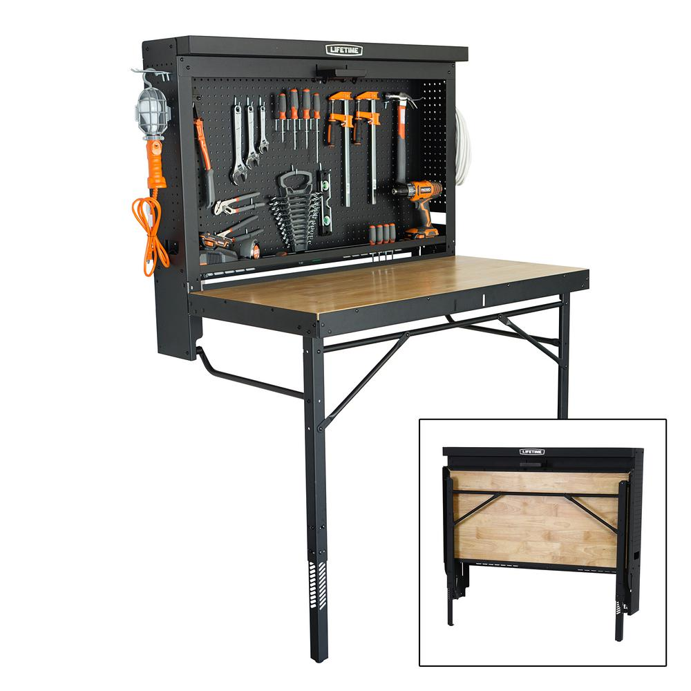 Lifetime 47 In. L X 31 In. D X 60.5   71.5 In. H Wall Mounted Folding Work  Table 80421   The Home Depot