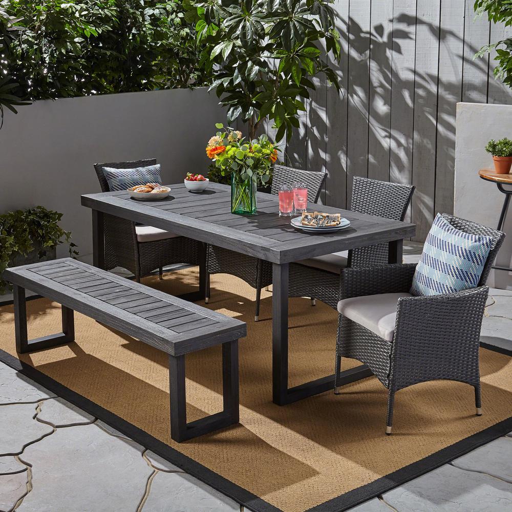 Moralis Grey 6-Piece Sandblast Aluminum and Wicker Outdoor Dining Set with Grey Cushions