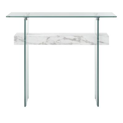 Kayley 39.4 in. Faux White Marble Console Table