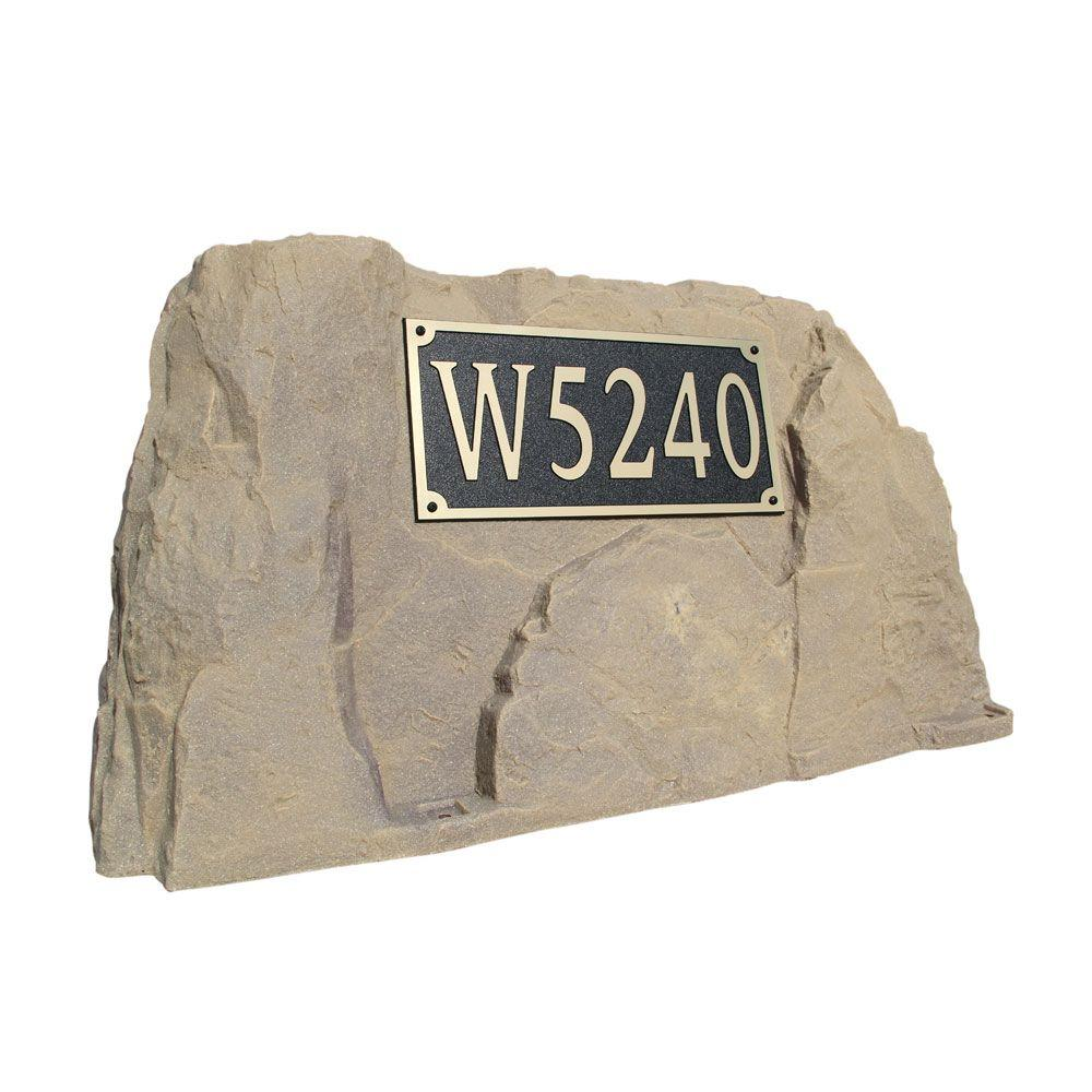 Dekorra 39 in. L x 21 in. W x 21 in. H Plastic Rock Cover with Square Sign in Tan/Brown
