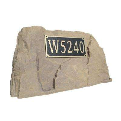 39 in. L x 21 in. W x 21 in. H Plastic Rock Cover with Square Sign in Tan/Brown