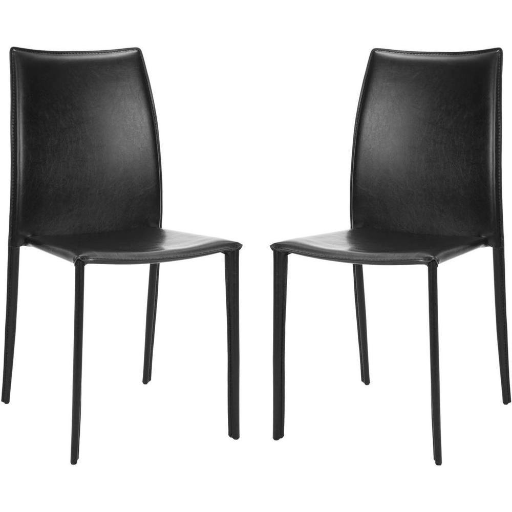 Korbin Black Bonded Leather Side Chair (Set of 2)