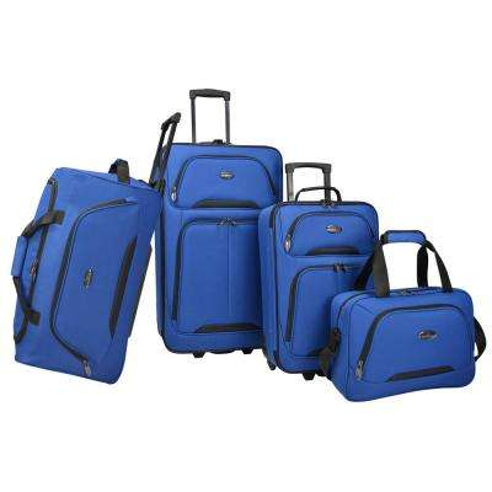 U.S Traveler Vineyard 4-Piece Softside Luggage Set, Blue