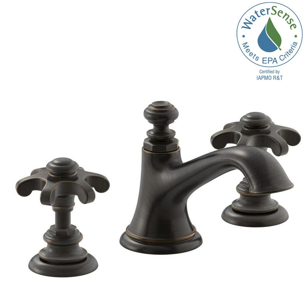 9523a741f32d Artifacts 8 in. Widespread 2-Handle Bell Design Bathroom Faucet in Oil  Rubbed Bronze with Prong Handles
