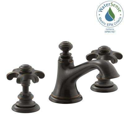 Artifacts 8 in. Widespread 2-Handle Bell Design Bathroom Faucet in Oil Rubbed Bronze with Prong Handles