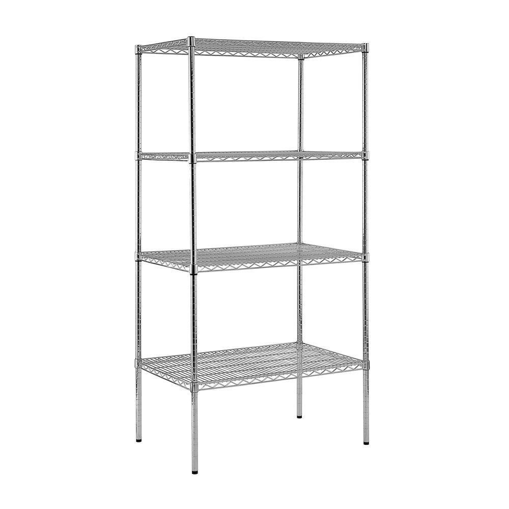 86 in. H x 36 in. W x 18 in. D 4-Shelf Steel Shelving Unit in Chrome