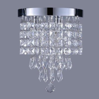 8.7 in. 3-Light Chrome Flush MountChandelierwith K9 Crystals