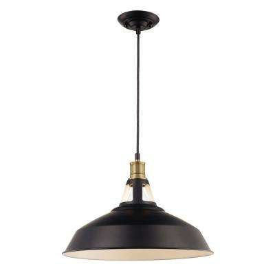 1-Light Matte Black Pendant with Metal Shade