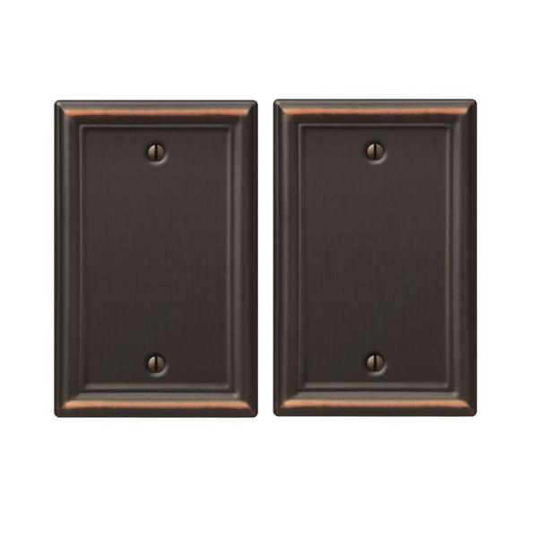 Ascher 1 Gang Blank Steel Wall Plate - Aged Bronze (2-Pack)