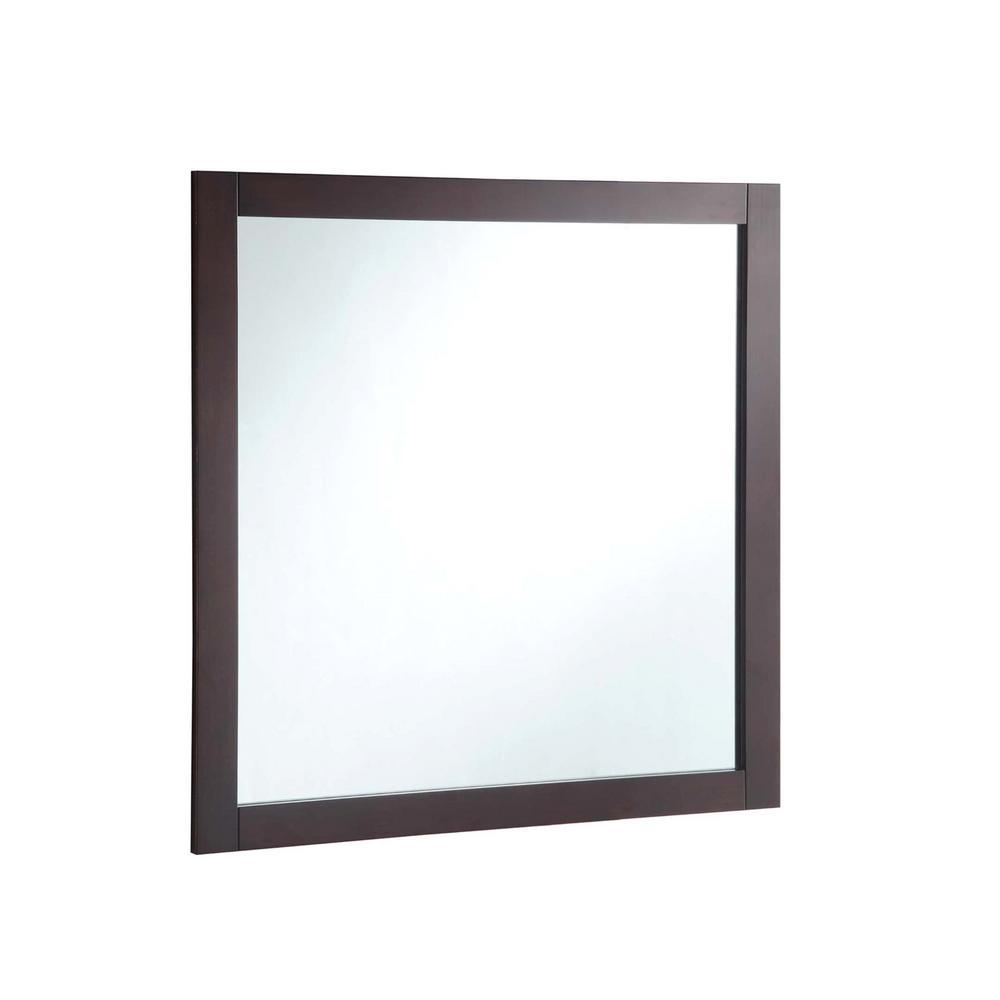 30 in. W x 30 in. H Framed Square Bathroom Vanity Mirror in Espresso