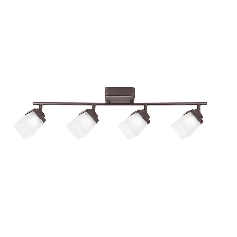 Hampton Bay 4 Light Bronze Led Dimmable Fixed Track Lighting Kit With Straight Bar Frosted