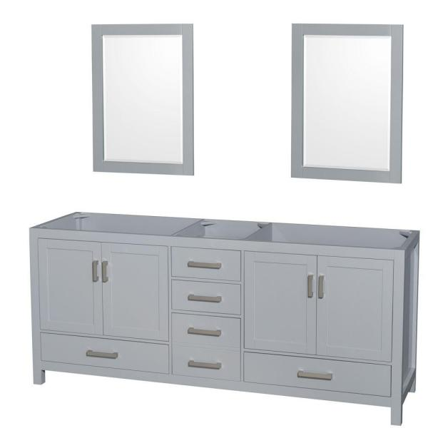 Sheffield 80 in. Vanity Cabinet with Mirrors in Gray