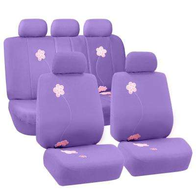 Fabric 47 in. x 23 in. x 1 in. Full Set Flower Embroidery Seat Covers