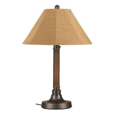Bahama Weave 34 in. Red Castagno Outdoor Table Lamp with Straw Linen Shade