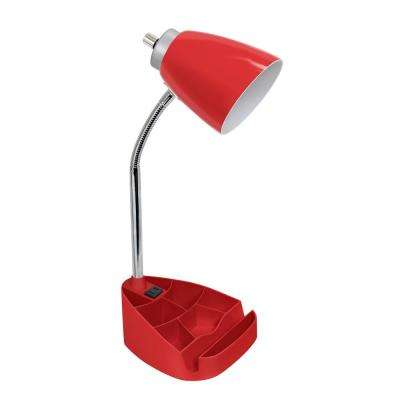 18.5 in. Gooseneck Organizer Desk Lamp with Holder and Charging Outlet, Red