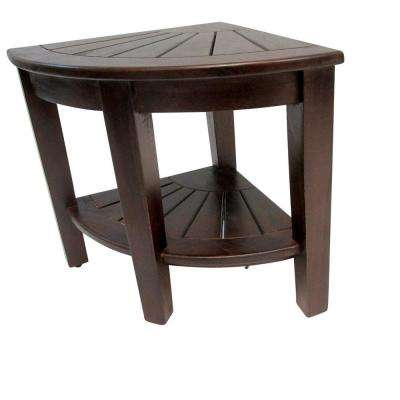 17 in. L x 17 in. W x 18 in. H. Teak Corner Stool with Rack