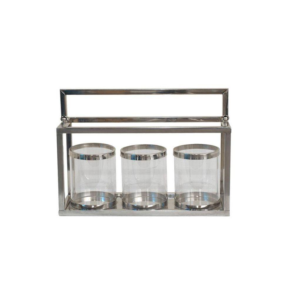 Home Decorators Collection 14 in. W Jory Silver Candleholders (Set of 3)