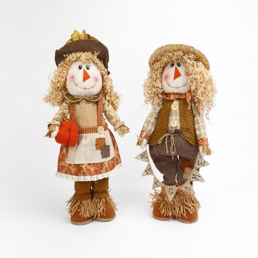 Gerson 21 in. H Plush Standing Scarecrow (Set of 2)
