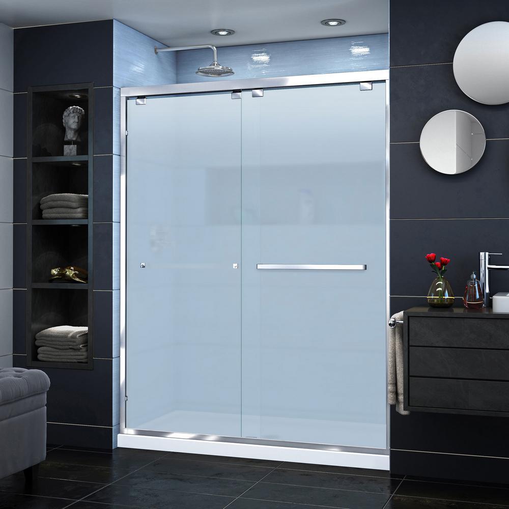 Encore 60 in. W x 76 in. H Semi-Frameless Sliding Shower Door in Chrome