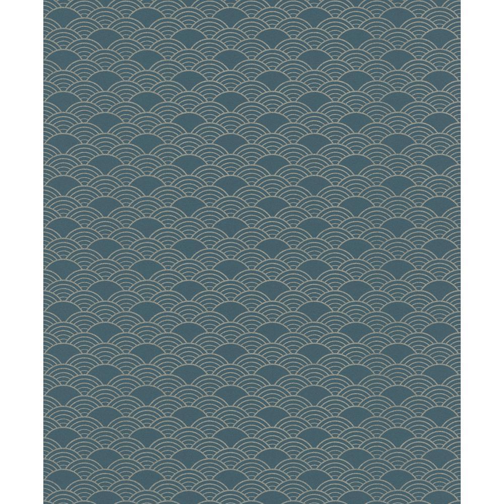 8 in. x 10 in. Rapin Dark Green Wave Wallpaper Sample