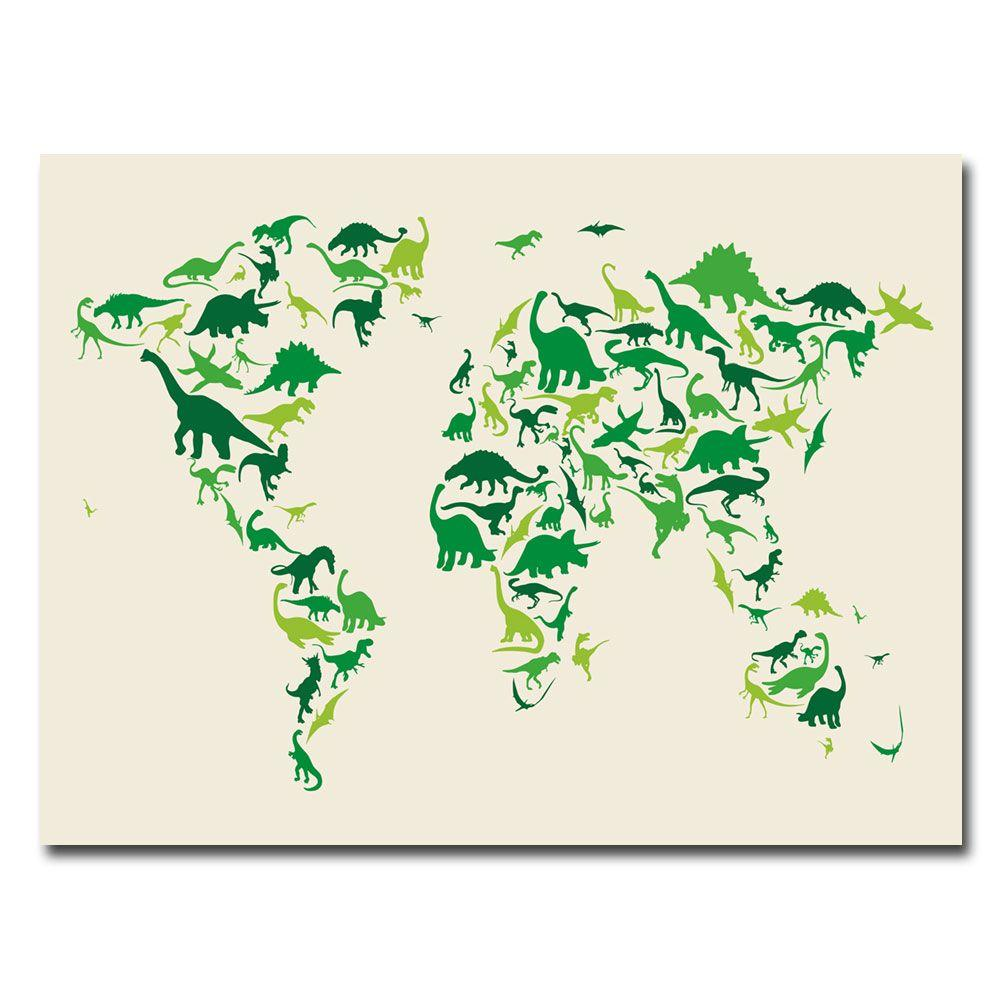Trademark Fine Art 18 in. x 24 in. Dinosaur World Map Canvas Art