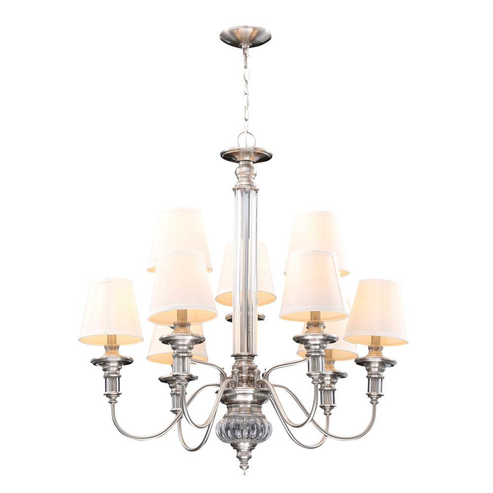 Hampton bay gala 9 light polished nickel chandelier 14694 the home hampton bay gala 9 light polished nickel chandelier arubaitofo Choice Image