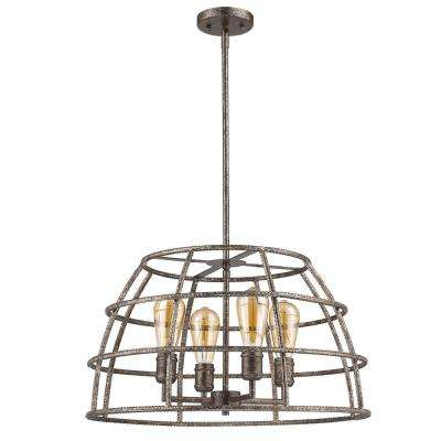 Rebarre 4-Light Antique Silver Drum Pendant with Open Cage Shade