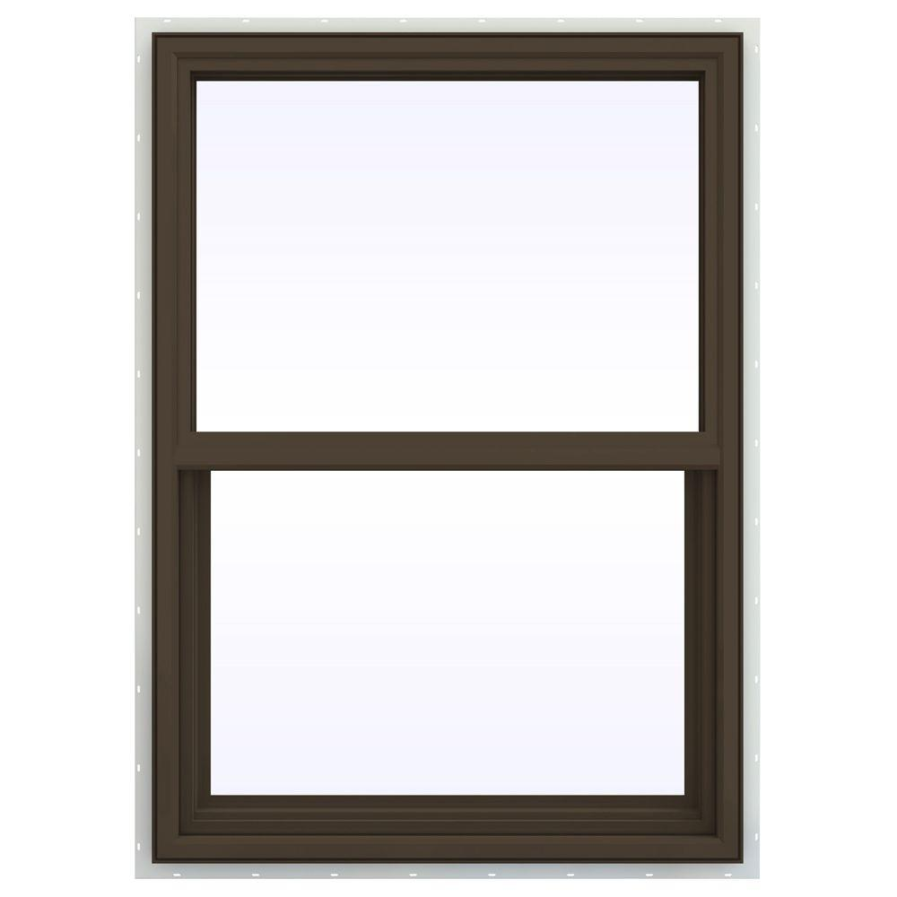 JELD-WEN 29.5 in. x 41.5 in. V-4500 Series Single Hung Vinyl Window - Brown