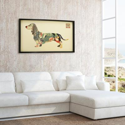 "25 in. x 48 in. ""Dachshund"" Dimensional Collage Framed Graphic Art Under Glass Wall Art"
