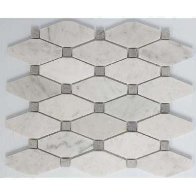 11 In X 12 10 Mm Tile Esque Carrara Marble White Octagon