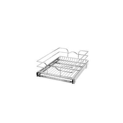 7 in. H x 14.375 in. W x 20 in. D Base Cabinet Pull-Out Chrome Wire Basket