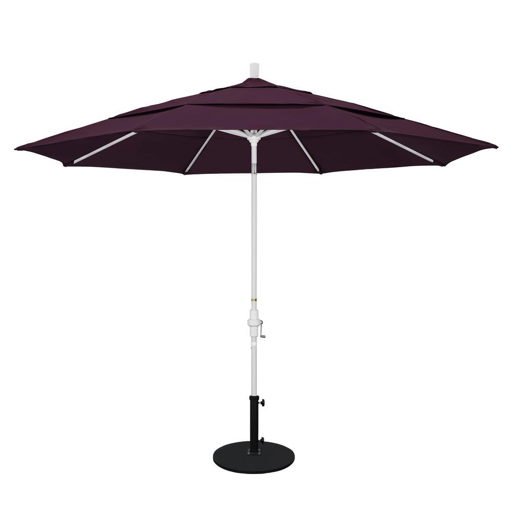 California Umbrella 11 Ft. Aluminum Collar Tilt Double Vented Patio Umbrella  In Purple Pacifica