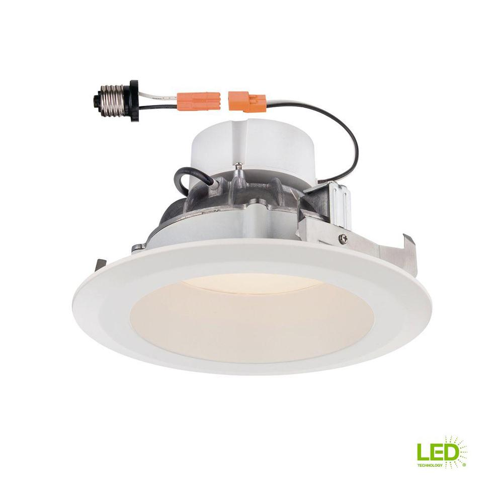 Envirolite 6 In Bright White Led Easy Up Recessed Ceiling Light Wiring A Simple Lighting Circuit Sparkyfactscouk Deep Splay Trim Warm 90 Cri