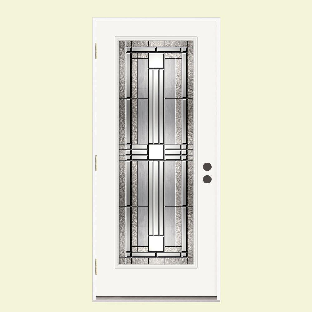 JELD-WEN 36 in. x 80 in. Full Lite Cordova Impact Rated Primed Steel Prehung Right-Hand Outswing Front Door