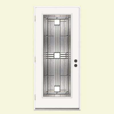36 in. x 80 in. Full Lite Cordova Impact Rated Primed Steel Prehung Right-Hand Outswing Front Door