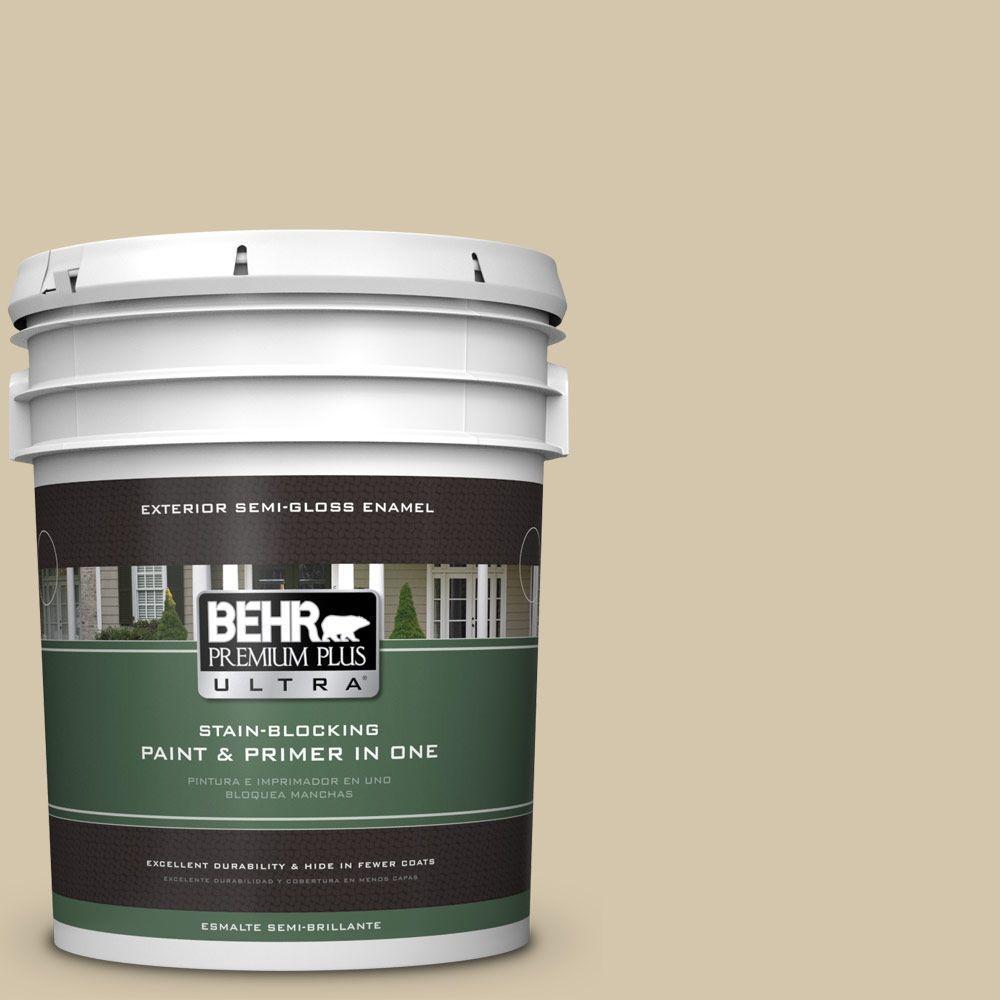 BEHR Premium Plus Ultra 5-gal. #YL-W11 Khaki Shade Semi-Gloss Enamel Exterior Paint