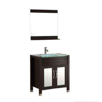Caius 30 in. Vanity in Espresso with Glass Vanity Top in Aqua and Mirror