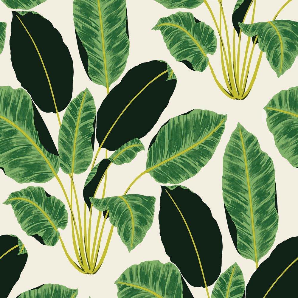 Tempaper Genevieve Gorder Hojas Cubanas Rich Emerald Self-Adhesive Removable Wallpaper