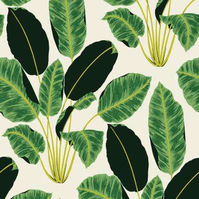 Genevieve Gorder Hojas Cubanas Rich Emerald Peel and Stick Wallpaper 56 sq. ft.