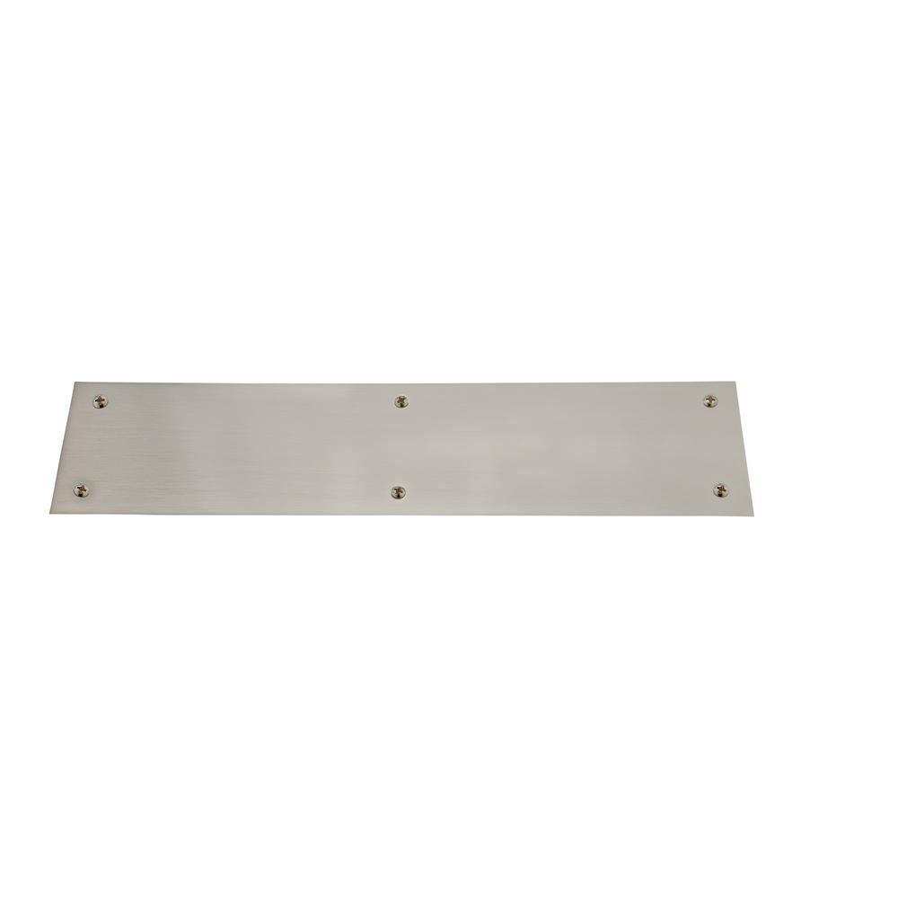 3 in. x 12 in. Satin Nickel Beveled Edge Push Plate