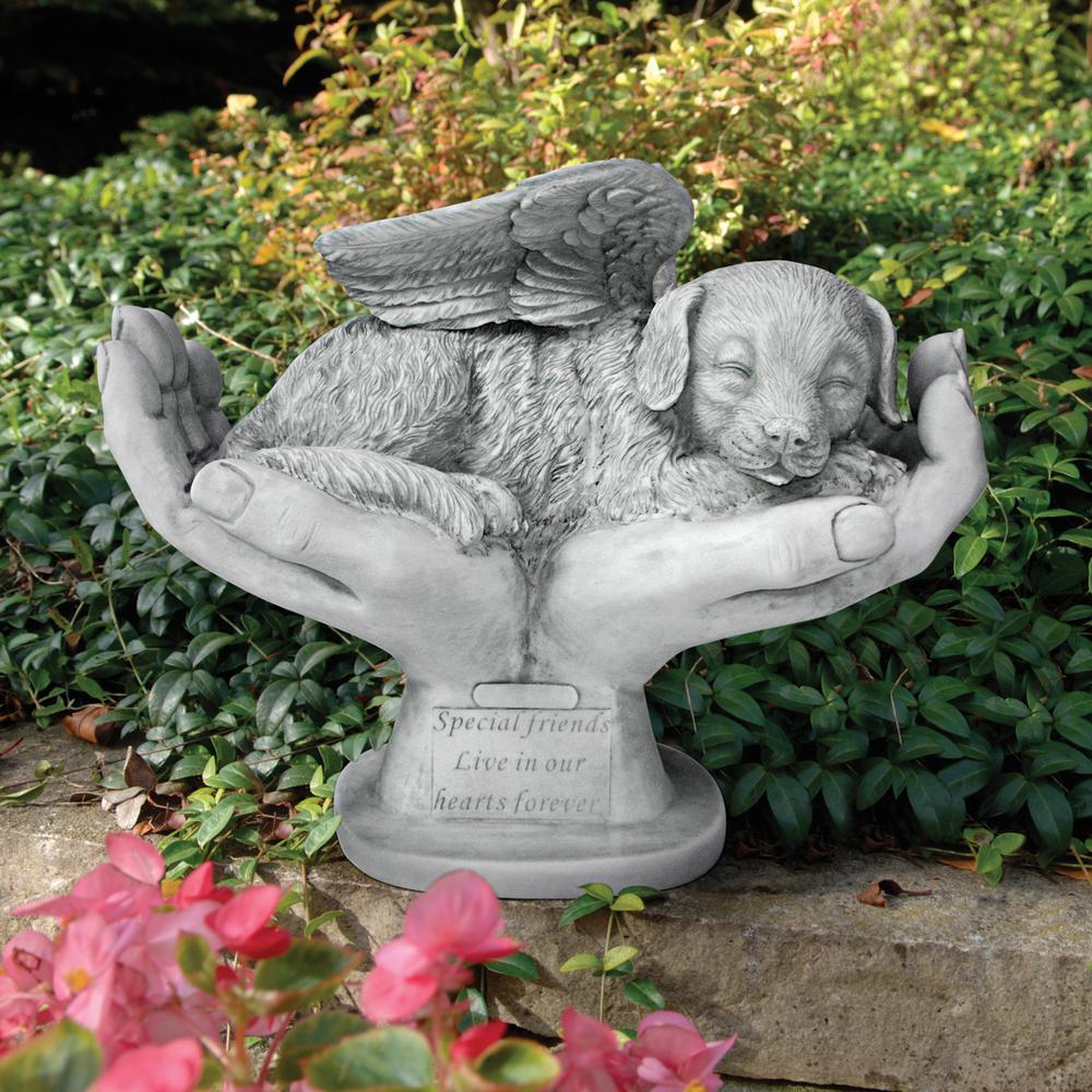 12.5 in. H In God's Hands Dog Memorial Statue