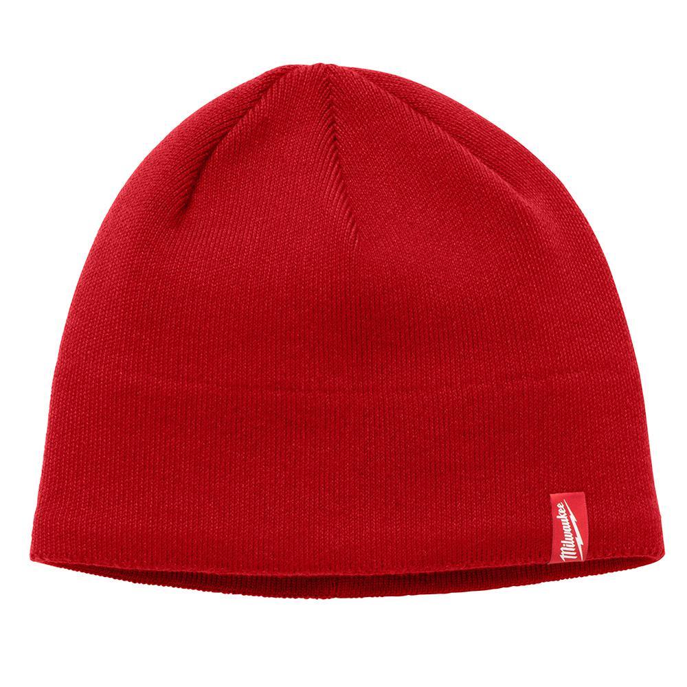 Men's Red Fleece Lined Knit Hat