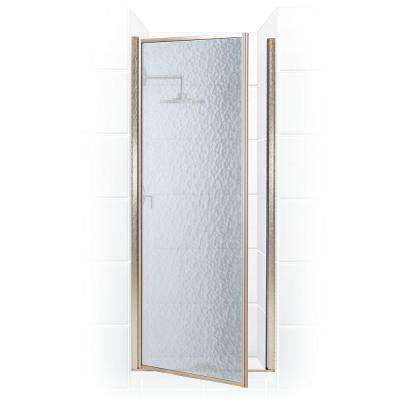 Legend Series 24 in. x 64 in. Framed Hinged Shower Door in Brushed Nickel with Obscure Glass