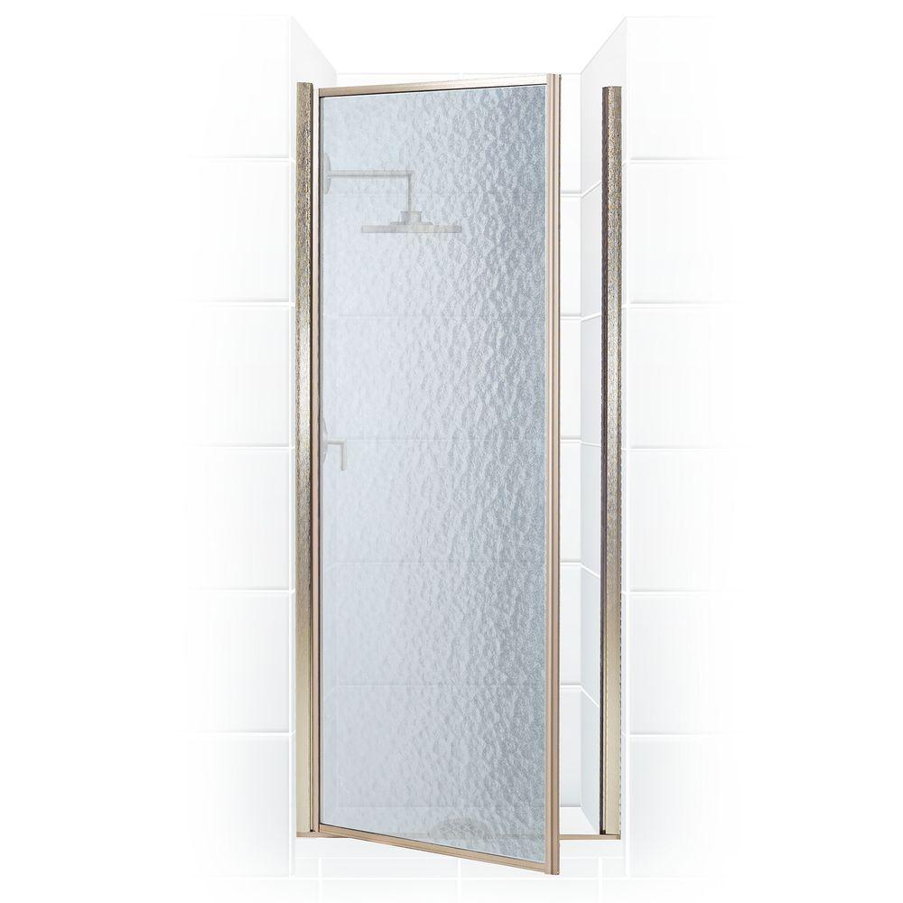 Coastal Shower Doors Legend Series 28 in. x 64 in. Framed Hinged Shower Door in Brushed Nickel with Obscure Glass