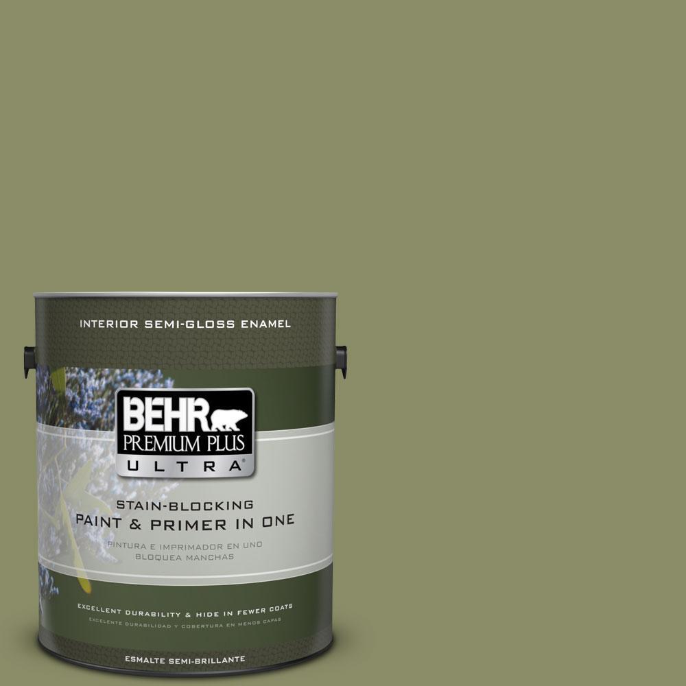 BEHR Premium Plus Ultra 1-gal. #S370-5 Pesto Paste Semi-Gloss Enamel Interior Paint