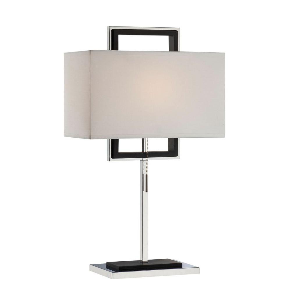 Illumine Designer Collection 28.5 in. White Table Lamp with White Fabric Shade