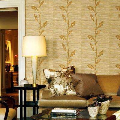 Grasscloth Leaf Wallpaper